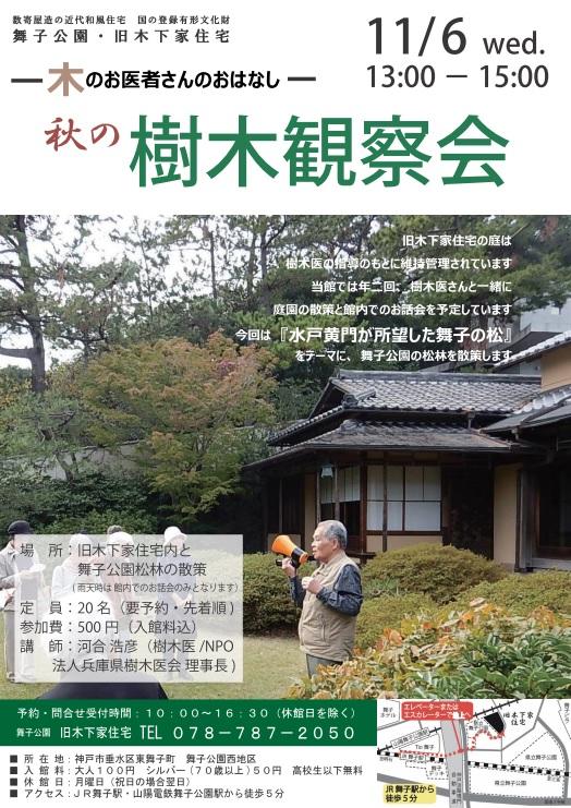 11/6(水)旧木下家住宅 秋の樹木観察会のアイキャッチ